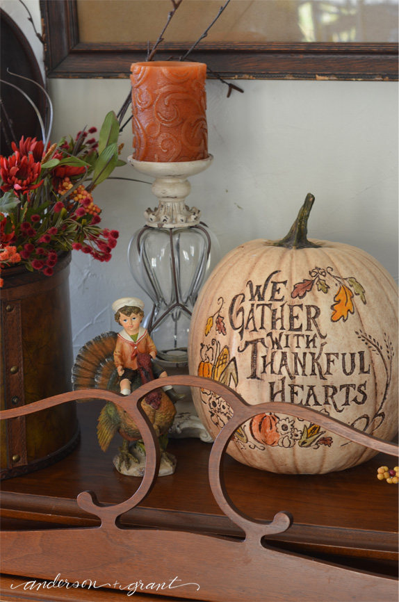 Boy on a Turkey Figurine and Thanksgiving Pumpkin | www.andersonandgrant.com