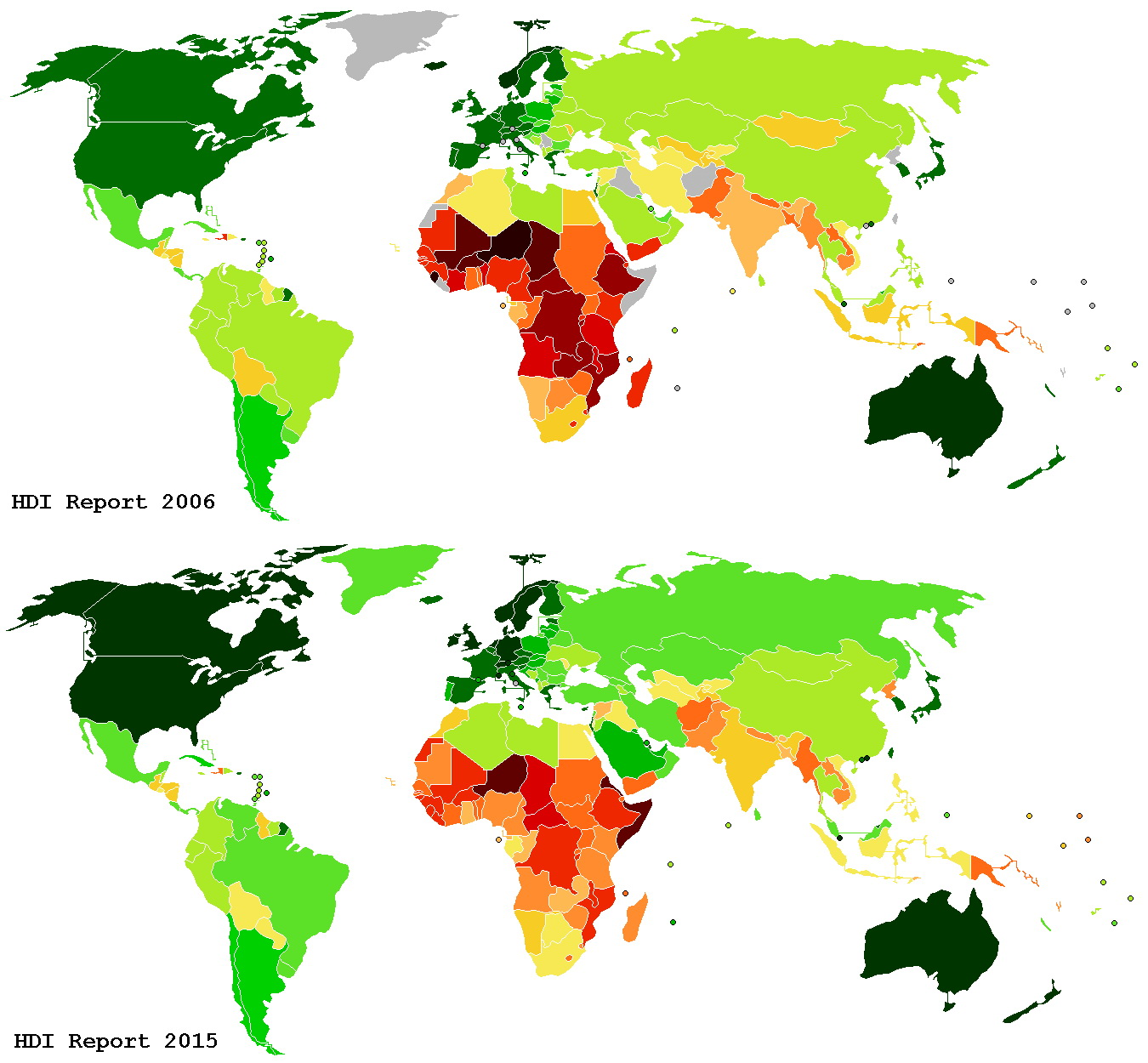 Human Development Index 2006 & 2015