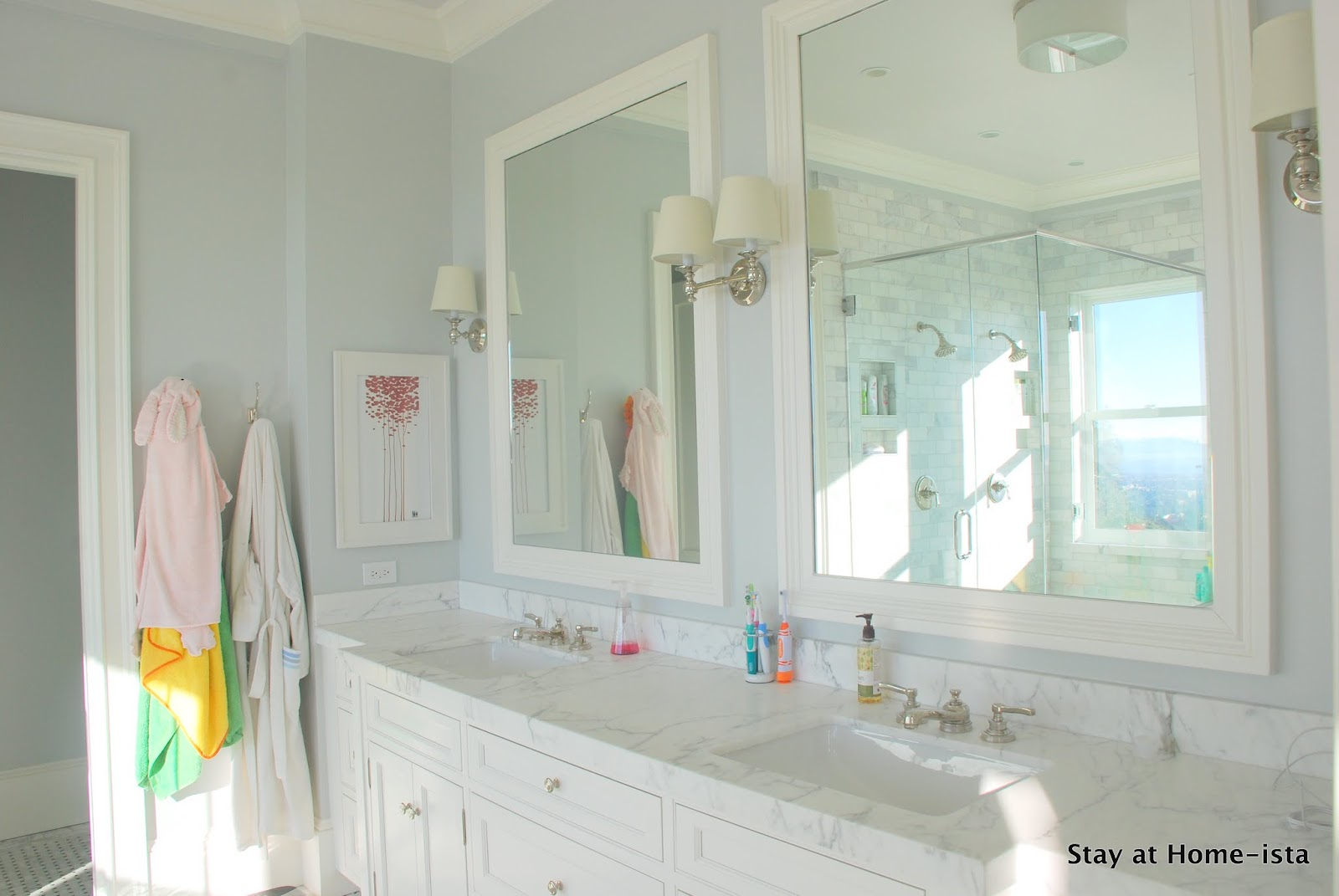 Remodelaholic marble master bathroom dream come true for Master bathroom white