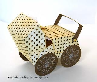 Kinderwagen als Geschenkverpackung zur Geburt aus Stampin Up Stanze Umschläge für Big Shot