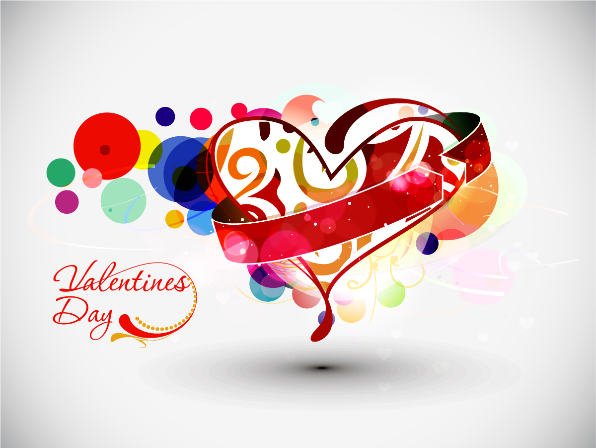 お洒落なバレンタインデーのロゴ テーマ Vector Heart valentine day word theme イラスト素材3