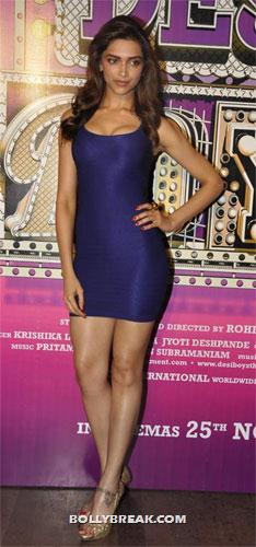 Deepika shows her cleavage in a tight blue bodycon dress - (2) -  Cocktail girl Deepika Padukone Dresses