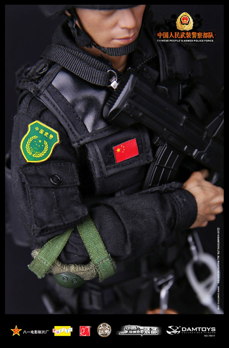 1//6 scale Chinese People/'s Armed Police Anti-Terrorism Force OD Green Elbow Pads