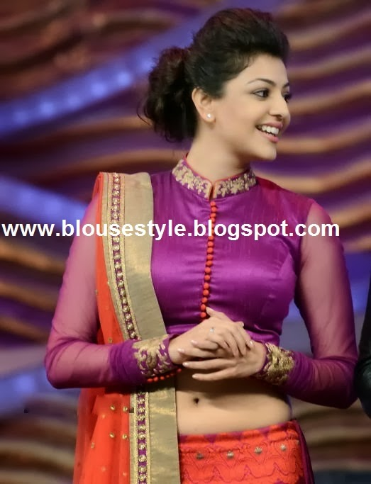 purple colour high neck blouse designs