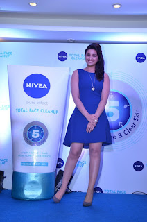 Parineeti Chopra Pictures in Blue Short Dress at Nivea Total Face Clean Up Digital Contest Winners Meet  0004