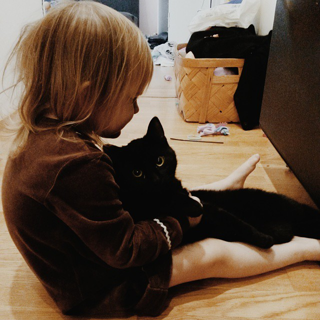 Sweet black cat and a little girl
