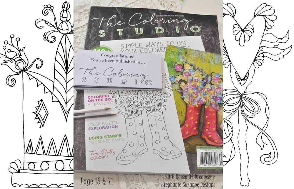My Artwork in Stampington's The Coloring Studio