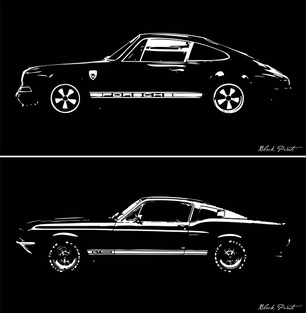 Blackprints Car Designs Reimagined Car lover Sabrina Chun is the artist behind these black & white prints of vintage cars. The high contrast of the inverse prints reveals each car's form in striking simplicity. The Porshce 911 a 1967 Mustang GT500 anda DeLorean