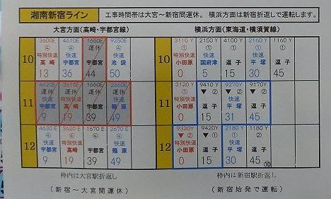 赤羽~川口間不発弾処理に伴う新宿駅時刻表