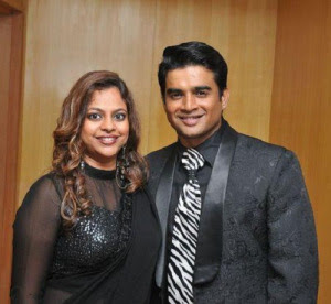 Madhavan with wife  Sarita Birje