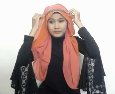 Tutorial hijab Untuk Wanita Hanya Dengan Seutas Tali Part 5