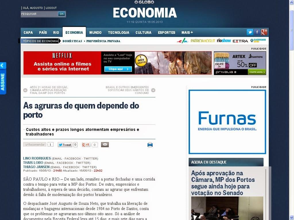 Reportagem jornal O Globo comigo sobre a MP dos portos     16/05/2013  (clicar para ir site)