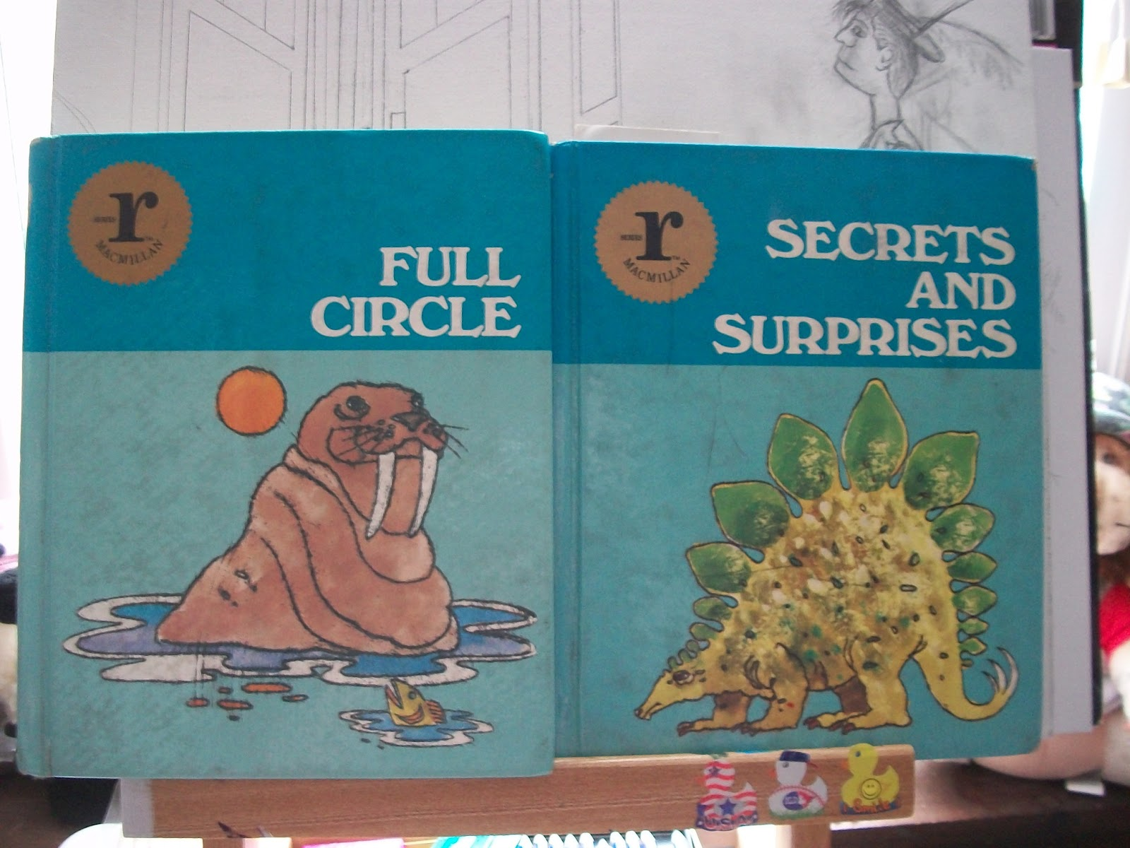 Here There Be A Writer Retro Vision Old Elementary Text Books