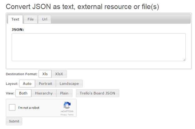 json to excel