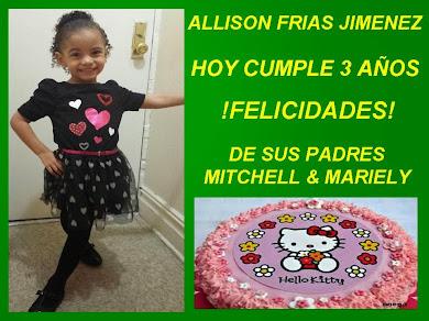 ALLISON CUMPLE HOY 3 AÑOS