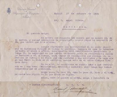 Carta de Manuel Golmayo a Ribera