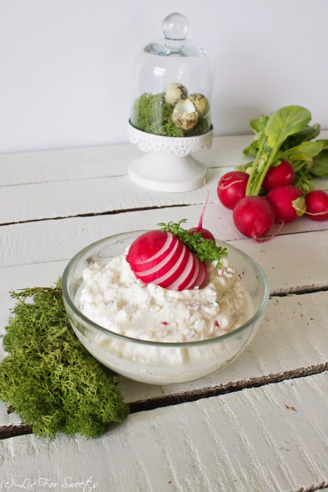 Radieschen Kresse Frischkäse, Frühstück, Osterfrühstück, Ostern, Rezept, Thermomix