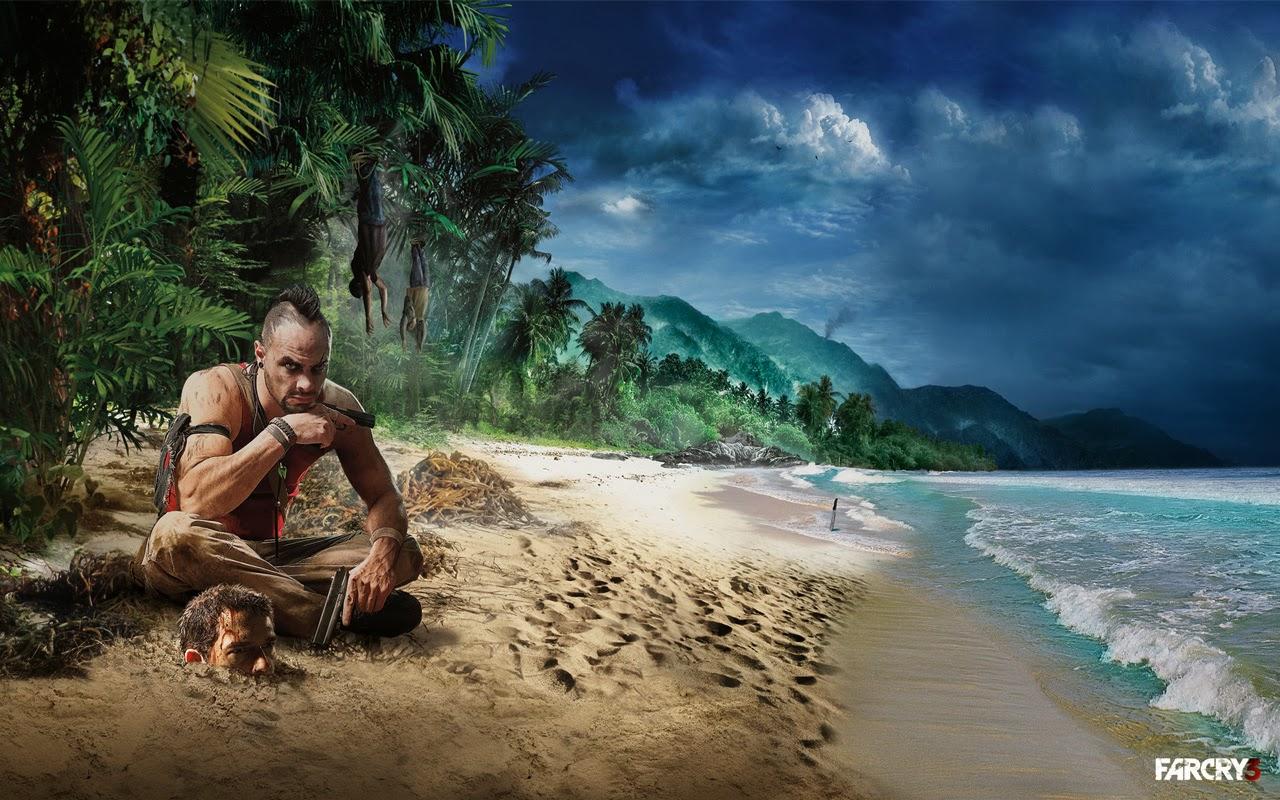Vaas du jeu Far Cry 3 sur la plage à côté d'une tête enterrée