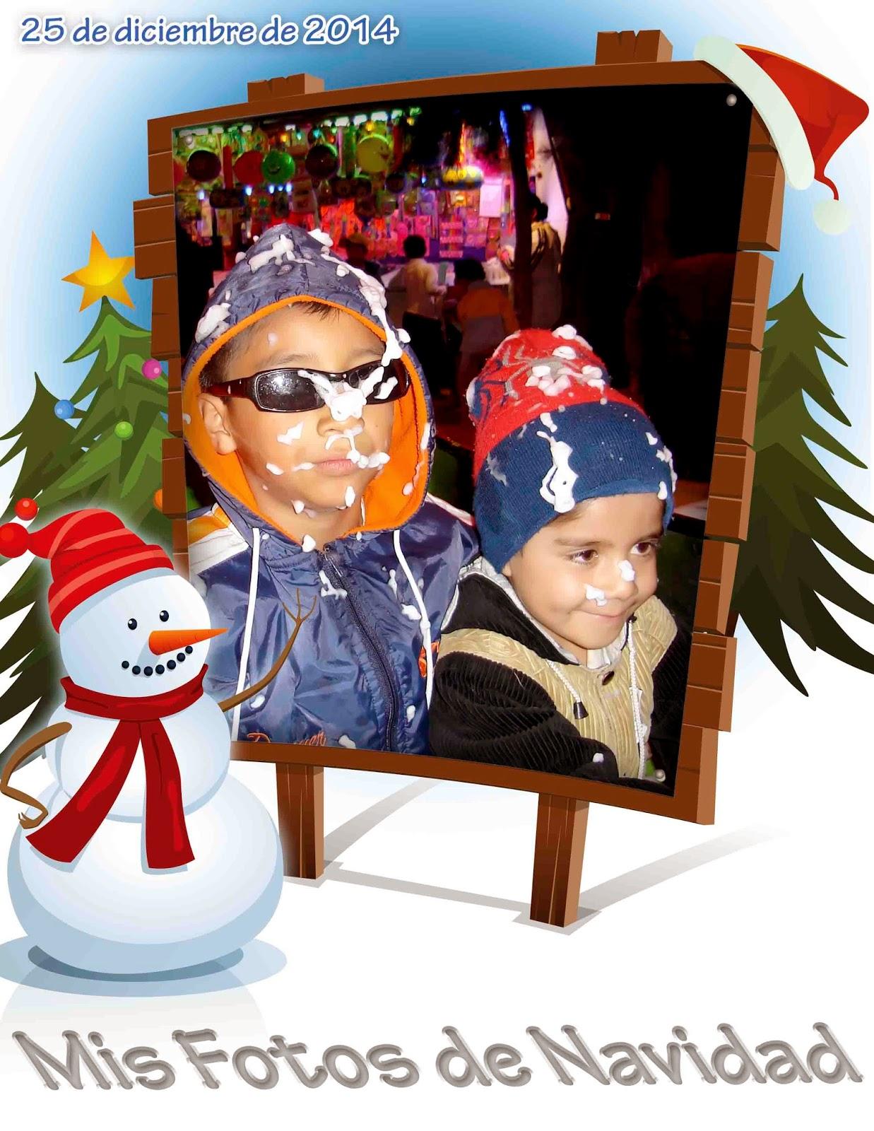 Muñeco de nieve con marco para foto
