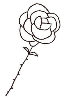 バラ一輪のイラスト線画