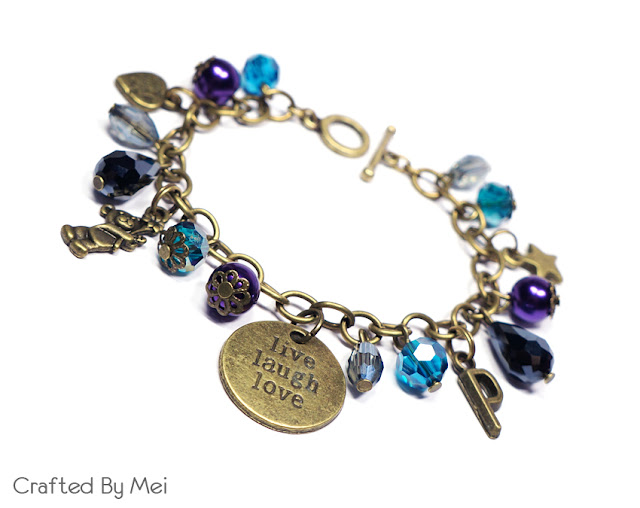 purple Beaded Charm Bracelets