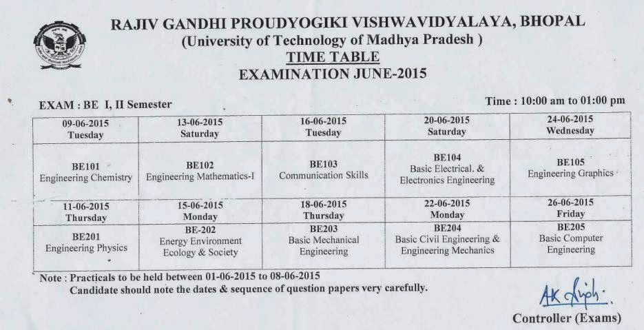 Rgpv time table be btech bpharma time table rgpv 1st for Rdvv 5th sem time table