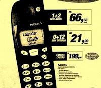 Propaganda do Nokia 5180 da Telesp, via a rede de lojas Arapuã.