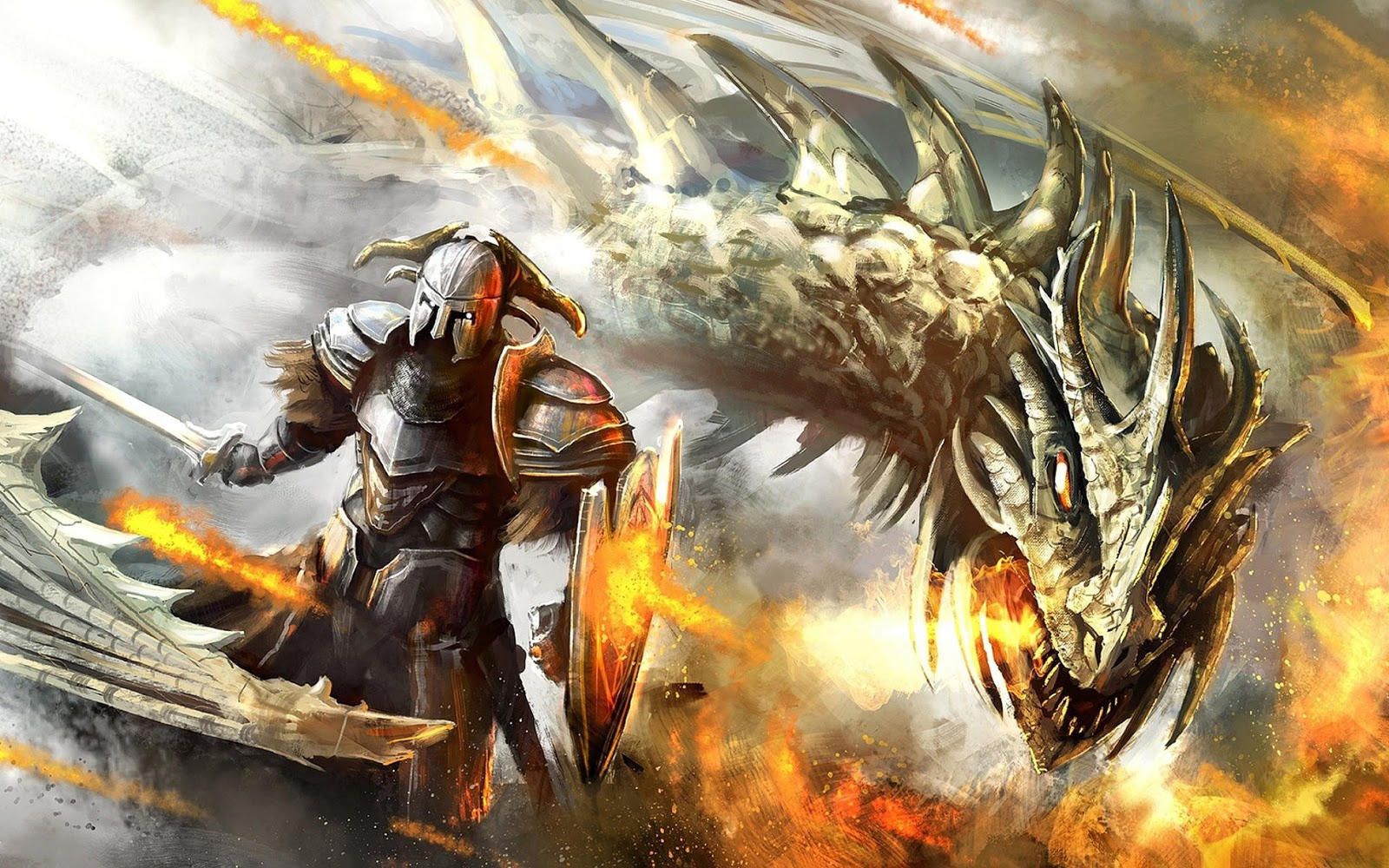 Fantasy Dragon Knight Fighting 2056 HD Wallpaper