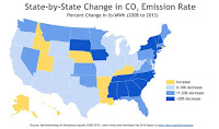 State by state change in CO2 emission rate (Credit: ceres.org) Click to Enlarge.
