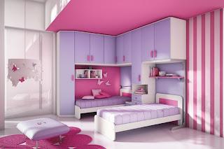 cuarto rosa lila para niña