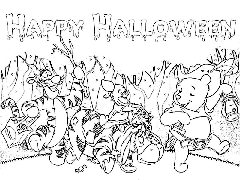 Pooh and Freinds Halloween Parade Coloring Pages title=