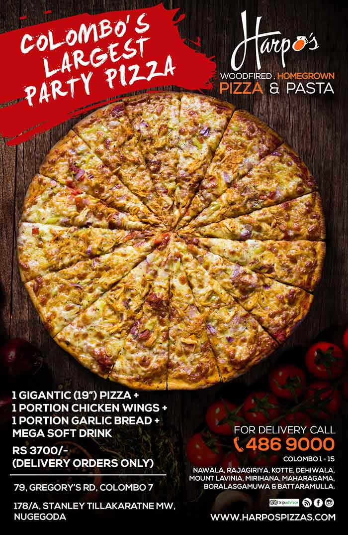 """Harpo's Pizza, now in its 8th year of operation, and the first home grown brand, has launched its first stand alone Pizza Parlor in Nugegoda in April 2015. Located in the busy Nugegoda town, on Stanley Tillekeratne mw, it serves the well known selection of Italian pizza range, a new Home grown flavors with local toppings, in 3 sizes, including Colombo's Largest (19"""") pizza, homemade Fresh Pasta, selection of Side Orders, Home- made beverages and dessert."""