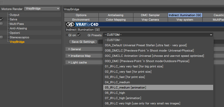 render settings preset cinema4D e Vray
