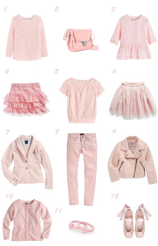 Selección moda niña rosa empolvado primavera 2014