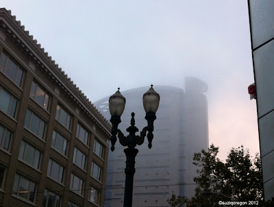 Downtown Portland foggy morning