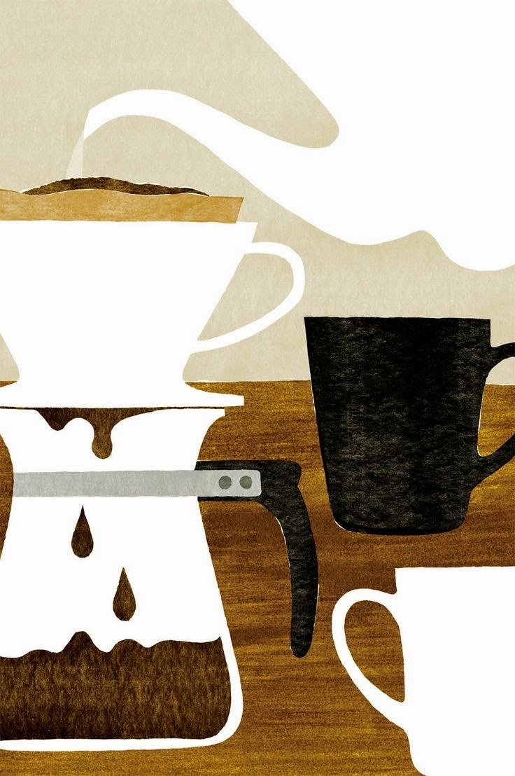 start the morning with coffee illustration by Kazuaki Yamauchi