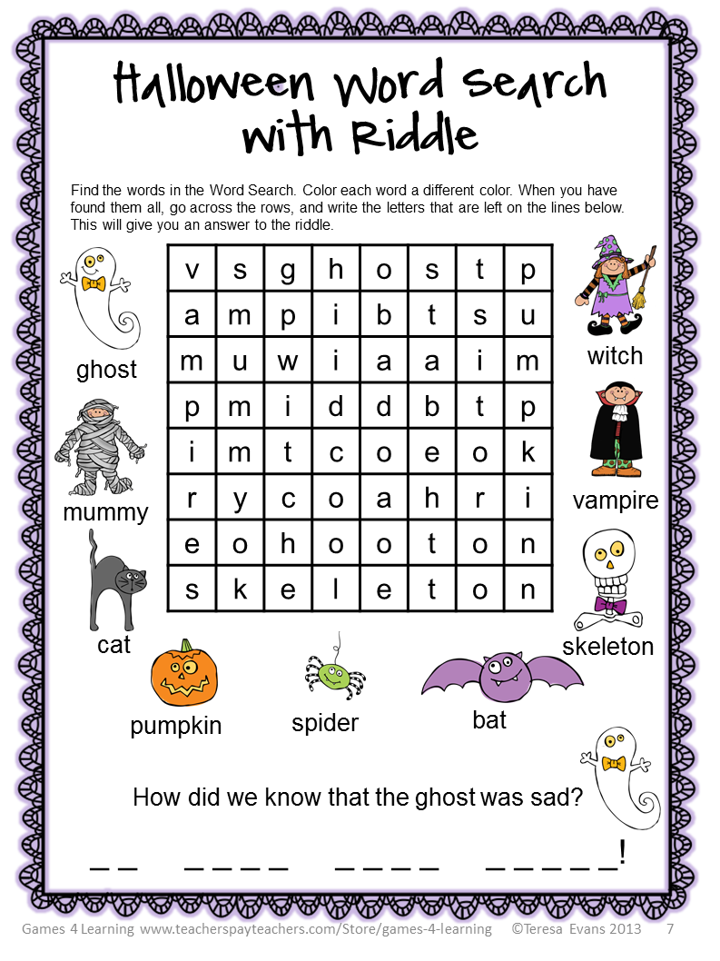 Fun Games 4 Learning: Halloween Literacy Freebies