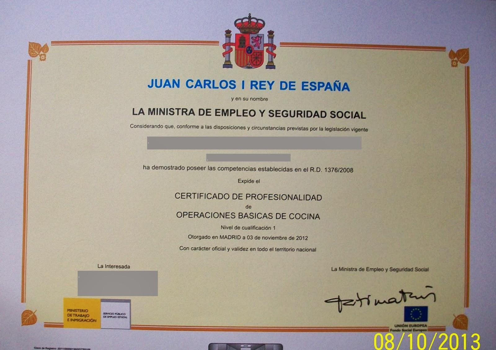 Certificado de profesionalidad de cocina el dedal de clara for Procesos de preelaboracion y conservacion en cocina pdf