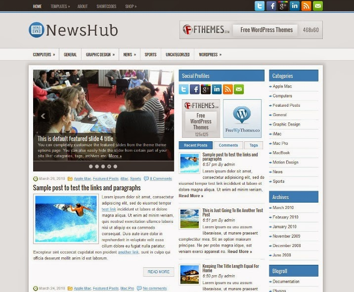 NewsHub - Free WordPress Theme