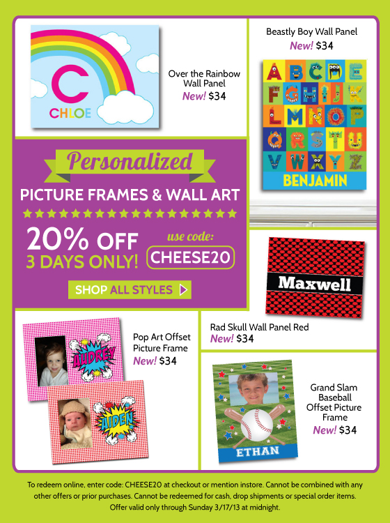 Personalized Kids Picture Frames and Wall Art