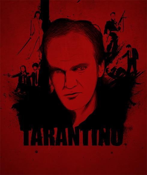 Imagem de uma ilustração do Quentin Tarantino e seus principais filmes