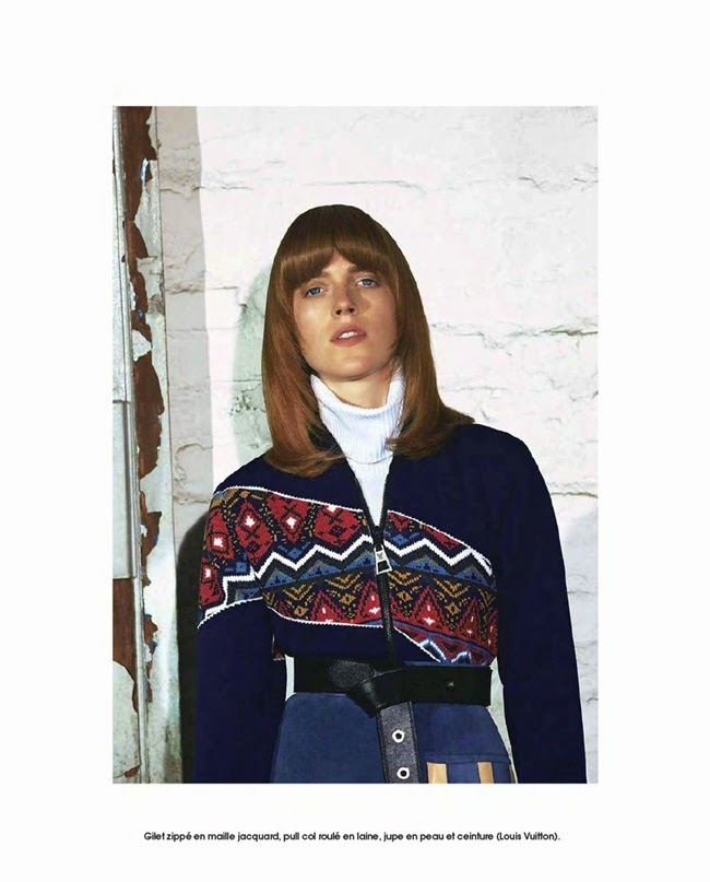 Louis Vuitton 2014 AW:Nordic Style Knitwear with A-line Leather Mini Skirt Editorials