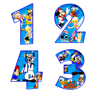 Alfabeto de personajes Disney con letras grandes 1234.