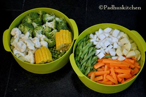Steamed vegetable salad recipe how to steam vegetables padhuskitchen vegetables kept ready for steaming forumfinder Image collections