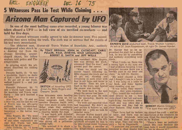 Newspaper report of the Travis Walton abduction