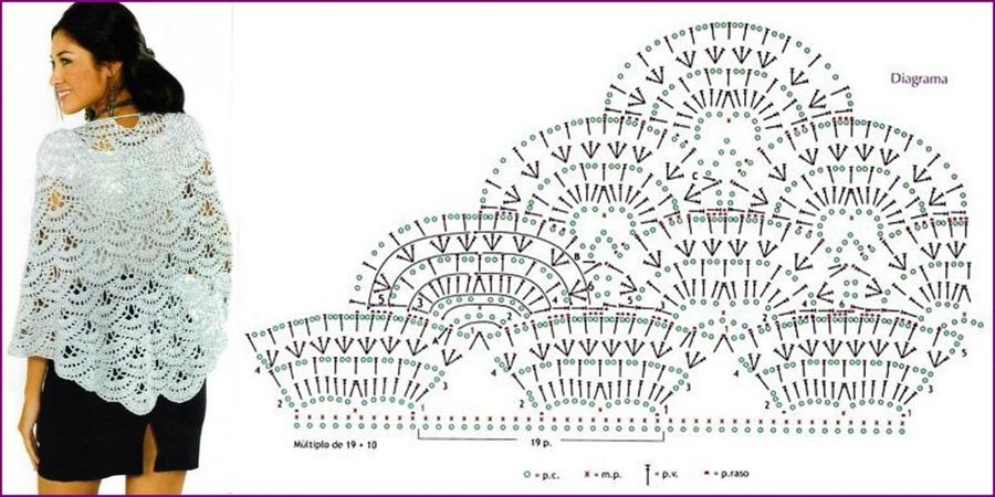 Шали, палантины и накидки связанные крючком. Схемы и. Вязаные шали и палантины и пончо. Схема вязания и описание