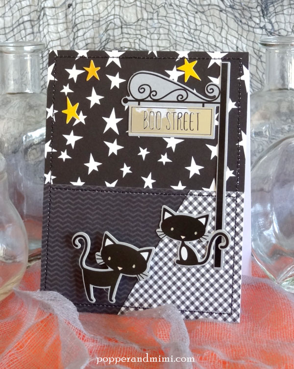 Create Halloween scene cards with stickers and patterned paper