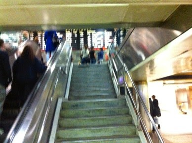 Bottom of the staircase leading up to the main Am track and NJTransit Plaza/Ticket area - Skip the lines with this shortcut for your own early boarding