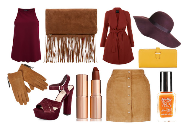 autumn ootd oufit fashion wishlist burgandy maroon tan camel orange fall autumn fringe bag accessorize scalloped top suede gloves river island heels new look charlotte tilbury love liberty lipstick matte revolution button up skirt tan new look barry m gel polish paint floppy hat trench coat