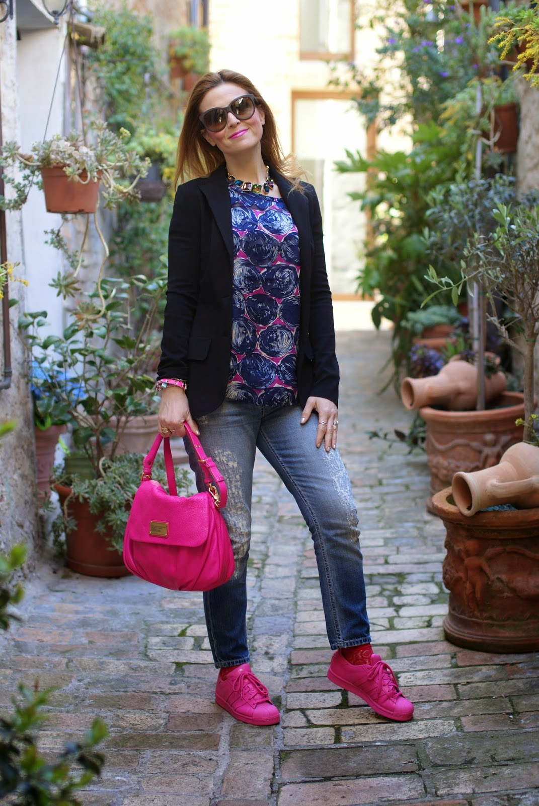 marc by marc jacobs bag, pink supercolor, adidas sneakers pink, fashion and cookies fashion blog